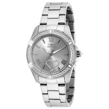 Invicta 20321 Women's Stainless Steel Bracelet Quartz Angel Crystal Silver Dial Watch
