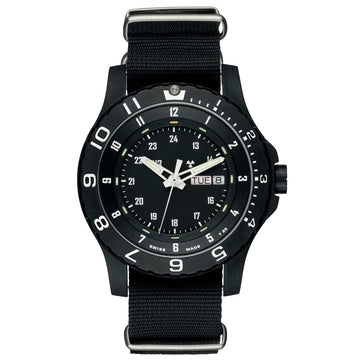 Traser 100072 Men's P6600 Type 6 MIL-G Military Black Dial Black Textile Nato Strap Dive Watch