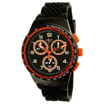 Swatch SUSB408 Men's Archi-Mix Nerolino Black Silicone Strap Chronograph Black Dial Date Watch