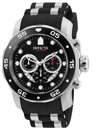 Invicta 6977 Men's Steel & Polyurethane Band Swiss Quartz Pro Diver Chrono Black Dial Date Watch