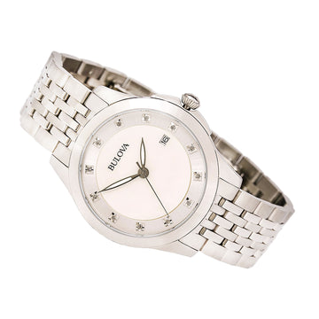 Bulova 96P174 Women's Diamonds White MOP Dial Stainless Steel Bracelet Watch