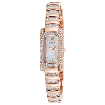 Bulova 98L205 Women's Quartz Crystal Accented Rose Gold Steel Bracelet MOP Dial Watch