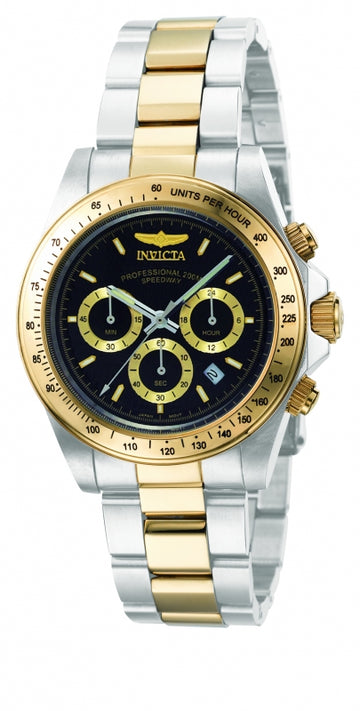 Invicta Men's Chronograph Two Tone Watch - Speedway Quartz Black Dial Date | 9224