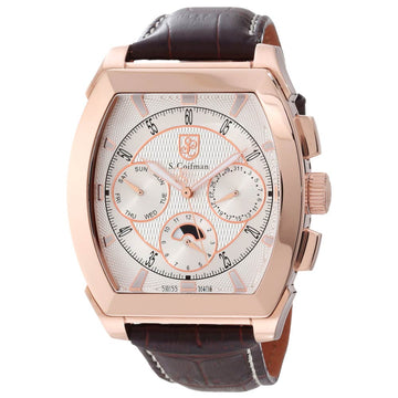 S. Coifman SC0090 Men's Silver Dial Rose Gold Plated Steel Brown Leather Strap Watch