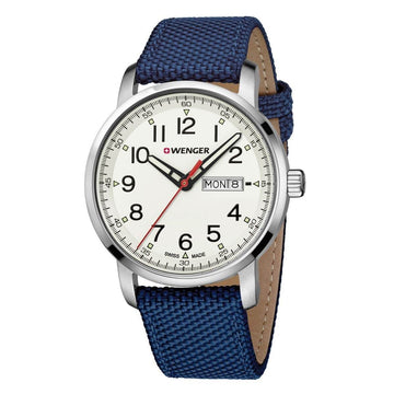 Wenger Men's Strap Watch - Attitude Heritage Beige Dial Nylon & Leather | 01.1541.113