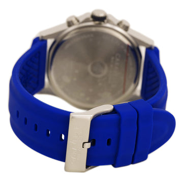 Caravelle 43A117 Mens New York Blue Dial Blue Rubber Strap Chrono Watch