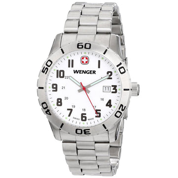 Wenger 0741.102 Swiss Made Men's Grenadier White Dial Stainless Steel Bracelet Sport Watch