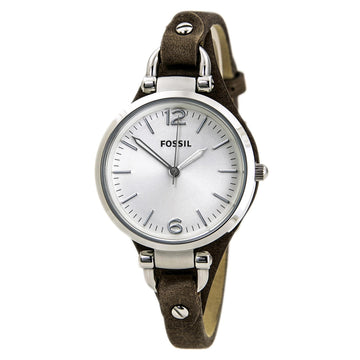 Fossil ES3060 Women's Georgia Silver Dial Tan Leather Strap Watch