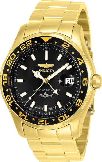 Invicta Men's Bracelet Watch - Pro Diver Black Dial Yellow Gold Steel | 25822