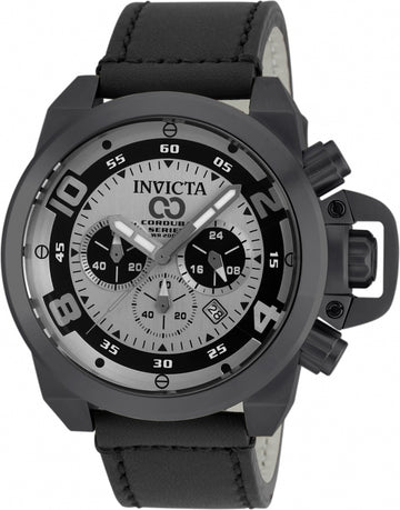 Invicta 90246 Men's Corduba Chrono Gunmetal & Black Dial Black Leather Strap Dive Watch