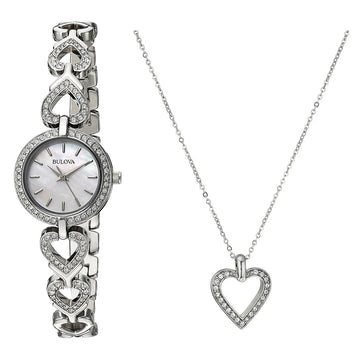 Bulova Women's Stainless Steel Watch & Pendant Set - Crystal Quartz MOP Dial | 96X136