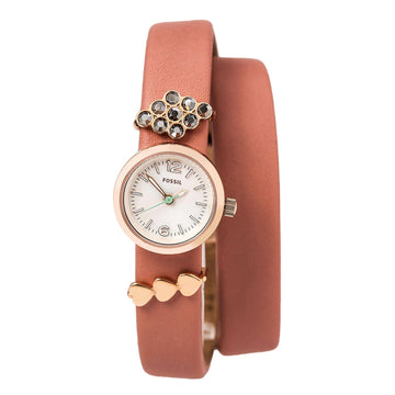 Shop Fossil ES4002SET Women's Pink Leather Strap Watch Georgia
