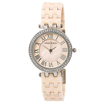Anne Klein 2201LPSV Women's Quartz Ceramic And Steel Bracelet Mother of Pearl Dial Swarovski Watch
