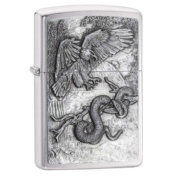 Zippo Windproof Pocket Lighter - Eagle vs. Snake Brushed Chrome | 29637