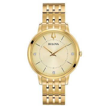 Bulova Women's Diamond Watch - Classic Yellow Gold Steel Champagne Dial | 97P123