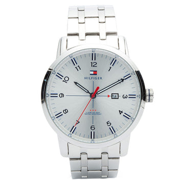 Tommy Hilfiger 1710327 Men's George Classic Silver Dial Stainless Steel Bracelet Watch