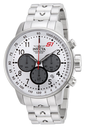 Invicta Men's Chronograph Stainless Steel Watch - S1 Rally Quartz Silver Dial | 23083