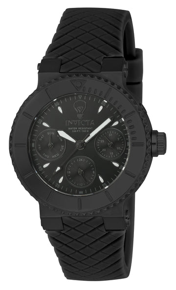 Invicta 22956 Women's Gabrielle Union Black Dial Black Silicone Strap Watch