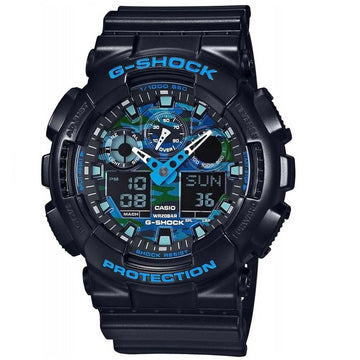 Casio Men's World Time Watch - G-Shock Alarm Dive Ana-Digi Black Dial | GA100CB-1A