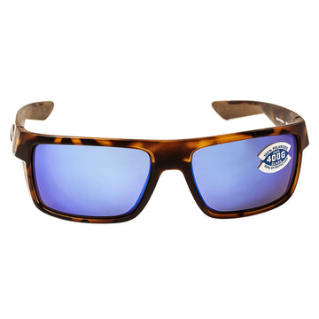 Costa Del Mar MTU66BMGLP Men's Motu Polarized Glass 400G Blue Mirror Lens Retro Tortoise Frame Sunglasses