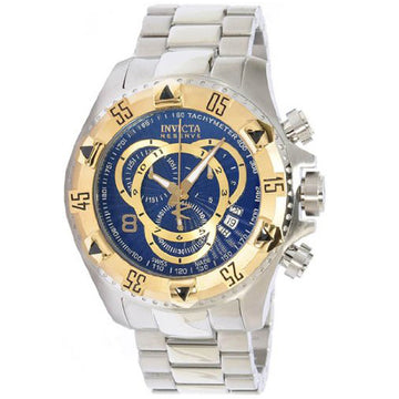 Invicta 11004 Men's Reserve Excursion Gold Tone Bezel Blue Textured Dial Stainless Steel Chronograph Dive Watch