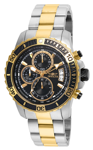 Invicta 22418 Men's Two Tone Yellow Steel Bracelet Pro Diver Chrono Black Dial Date Watch