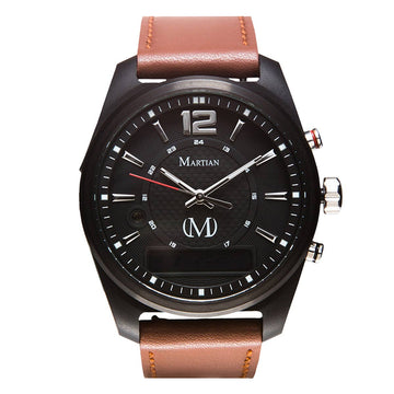 Martian MVR03AE021 Men's AE02 mVoice Luggage Brown Leather Strap Black Ana-Digi Dial Smartwatch