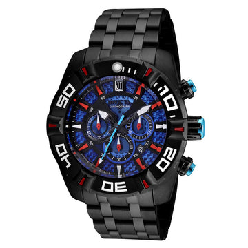 Invicta 24847 Men's Jason Taylor Blue Dial Black IP Steel Bracelet Chronograph Watch