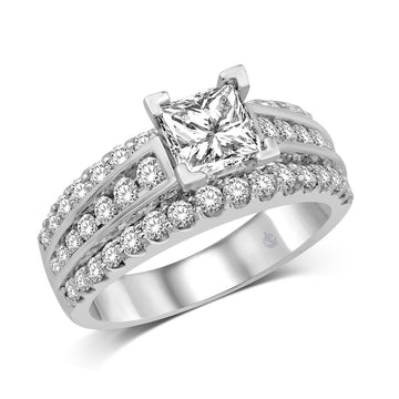 14K White Gold 1 1/6 Ct.Tw. Diamond Fashion Semi Mount Engagement
