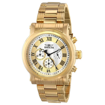 Invicta 15216 Men's Specialty Gold & Silver Dial Yellow Gold Steel Bracelet Chronograph Watch