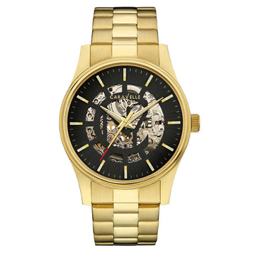 Caravelle 44A107 Men's New York Skeleton Dial Gold Yellow Steel Automatic Watch