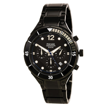 Pulsar PT3637 Men's On The Go Black Dial Chronograph Black IP Steel Watch
