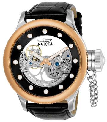 Invicta Men's Automatic Watch - Russian Diver Rose Gold Bezel Leather Strap | 24595
