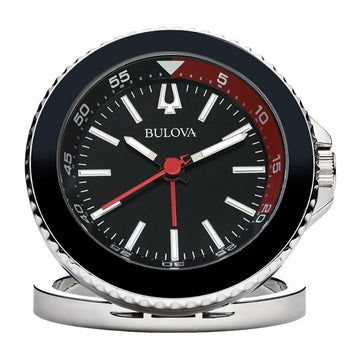 Bulova B6125 The Diver Black Dial Alarm Travel Table Clock