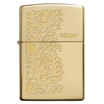 Zippo Windproof Pocket Lighter - Classic Paisley Design High Polish Brass | 29609