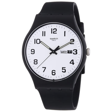 Swatch SUOB705 Unisex Originals Twice Again White Dial Black Silicone Strap Watch