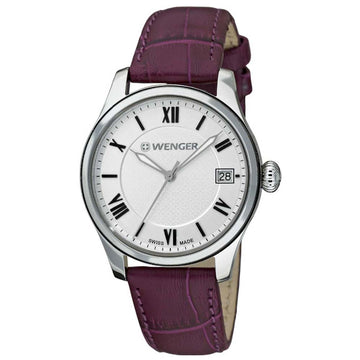 Wenger 60.0521.103 Women's Terragraph Silver Dial Purple Leather Strap Interchangeable Watch