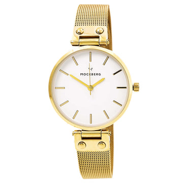 Mockberg MO1601 Women's Livia Yellow Gold Steel Mesh Bracelet White Dial Quartz Watch