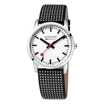 Mondaine Women's Watch - Simply Elegant Polka Dot Black Leather | A400.30351.11SBO