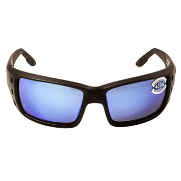 Costa Del Mar PT01BMGLP Men's Permit X-Large Polarized Glass 400G Blue Mirror Lens Blackout Frame Sunglasses