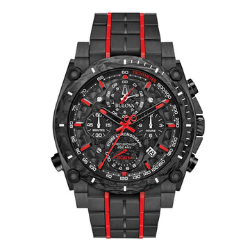 Bulova Men's Chronograph Watch - Precisionist Quartz Black Dial | 98B313