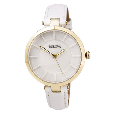 Bulova 97L140 Women's Dress Classic White Leather Strap White Ceramic Dial Quartz Watch