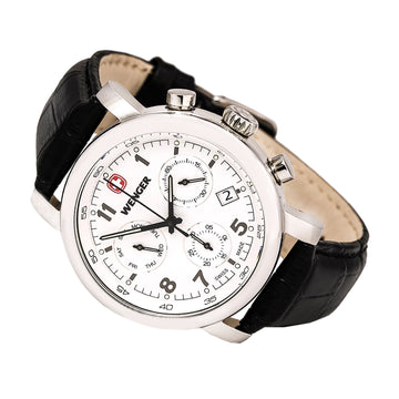 Wenger 01.1043.105 Men's Urban Classic Chrono Black Leather Strap White Dial Day Date Watch