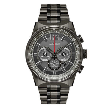 Citizen Men's Chronograph Watch - Nighthawk Dive Grey Dial Grey IP Steel Bracelet