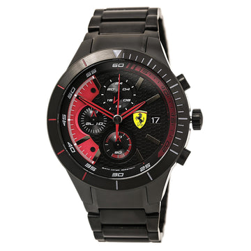Ferrari 830264 Men's Black Steel Bracelet Quartz RedRev Evo Chrono Black-Red Dial Date Watch