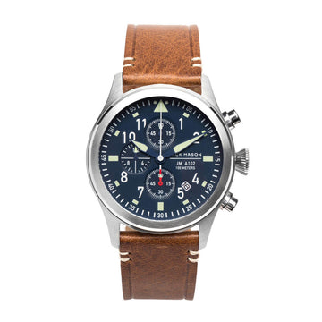 Jack Mason Men's Chronograph Watch - Aviation Navy Dial Saddle Strap | JM-A102-018