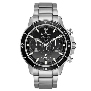 Bulova Men's Chronograph Dive Watch - Marine Star Quartz Black Dial | 96B272