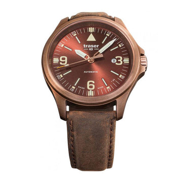 Traser Men's Automatic Watch - P67 Officer Pro Brown Dial Brown Leather Band | 108073