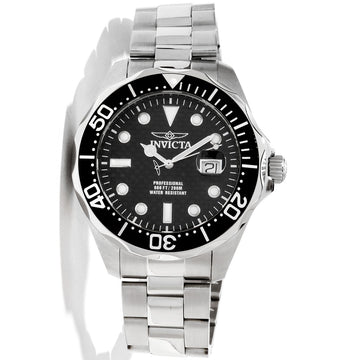 Men's Grand Diver Black Invicta Carbon Fiber Dial Black Bezel Stainless Steel Bracelet Dive Watch 12562