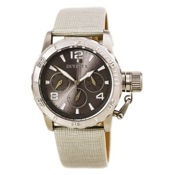 Invicta Women's Leather Strap Watch - Corduba Quartz Grey Dial Day-Date | 14794